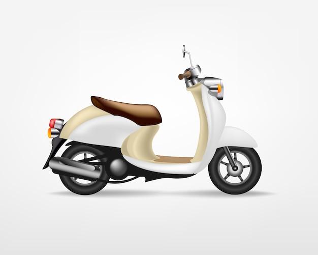 Scooter elettrico vintage alla moda, su sfondo bianco. moto elettrica, modello per il marchio e la pubblicità.