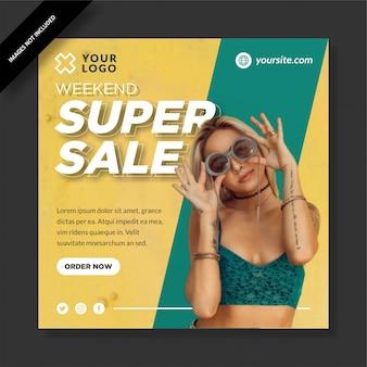 Trendy weekend super sale square banner social media post