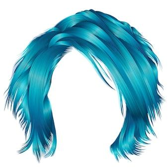 Colori blu capelli arruffati donna alla moda. 3d realistico