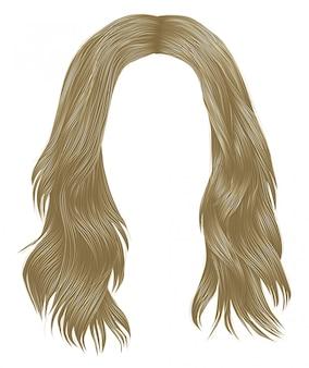 Colori biondi alla moda capelli lunghi donna. moda bellezza. grafico realistico 3d