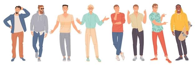 Set di giovani uomini alla moda
