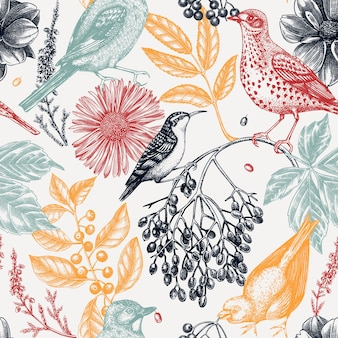 Sfondo autunnale alla moda colorato modello senza cuciture di uccelli