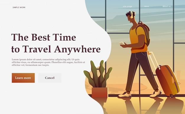 Un viaggiatore in un aeroporto. intorno al mondo. banner pubblicitario moderno.