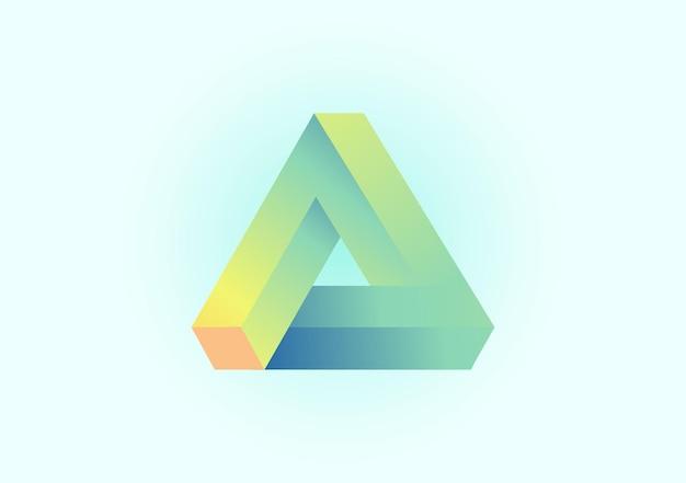Triangolo 3d con il concetto dell'illustrazione del fondo di vettore di colore fresco di pendenza
