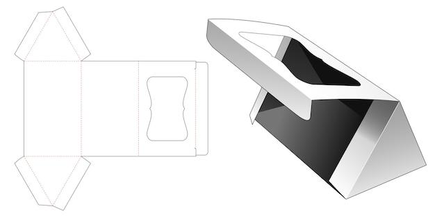 Scatola triangolare con finestra su modello fustellato ribaltabile