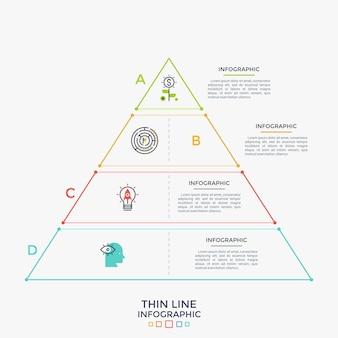 Triangolo diviso in 4 parti con icone a linea sottile all'interno. grafico gerarchico con quattro livelli. visualizzazione della gerarchia. modello di progettazione infografica creativa. illustrazione di vettore per l'opuscolo.