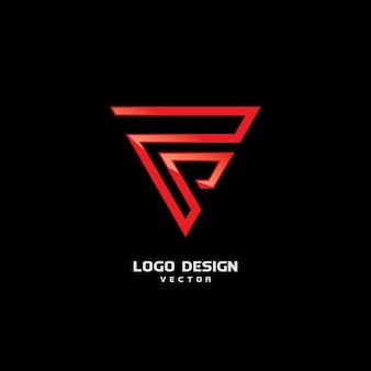 Triangolo f logo design vettoriale
