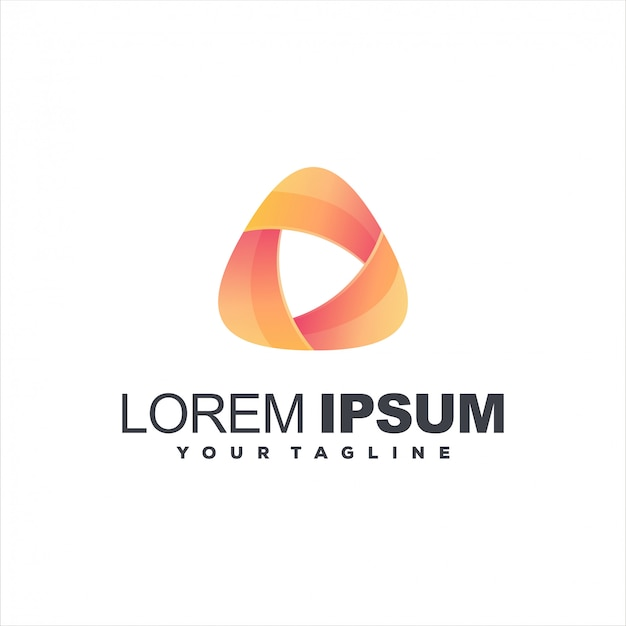 Triangolo gradiente colore logo design