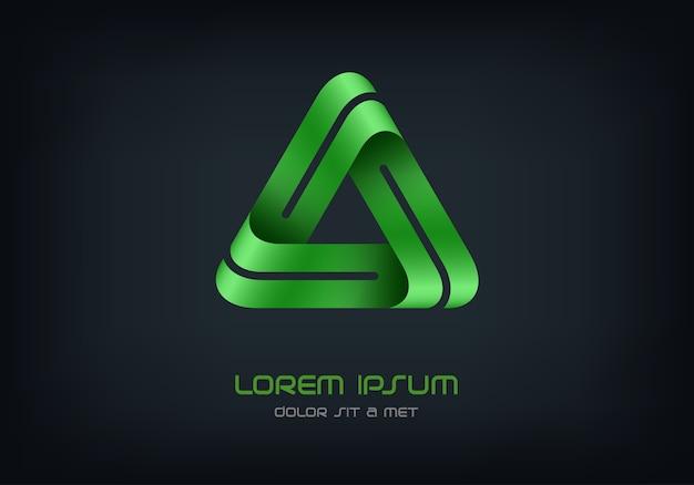 Modello astratto di triangolo logo business, logotipo di infinito loop hi tech,