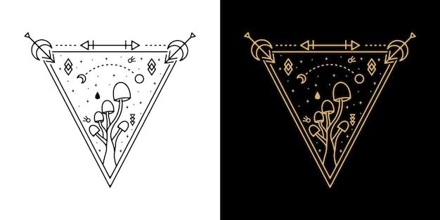 Triangle mushroom monoline badge design