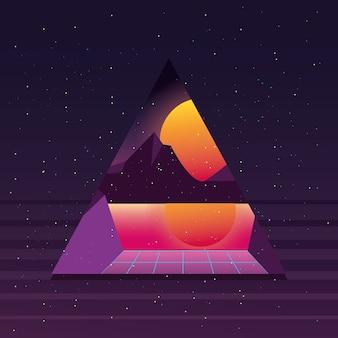 Triangle pyramid futuristico con priorità bassa di tramonto stile retrò tramonto