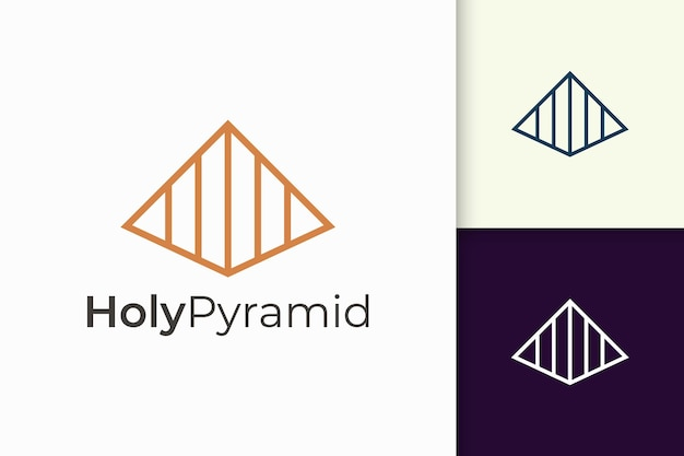 Logo piramidale triangolare in forma semplice e moderna adatta per azienda tecnologica Vettore Premium