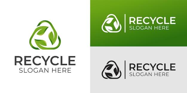 Riciclaggio del triangolo con foglia verde, logo ecologico del riciclaggio o design dell'icona