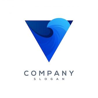 Triangolo wave logo vettoriale pronto per l'uso
