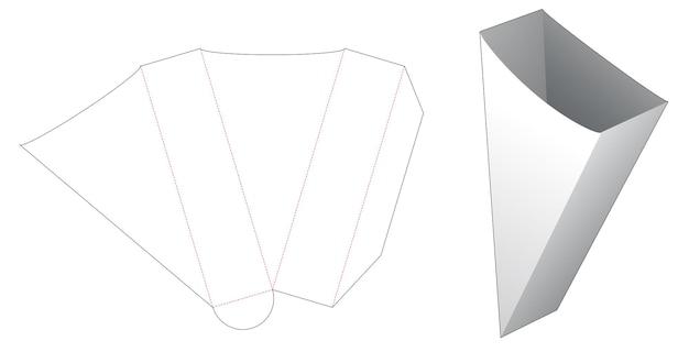 Modello fustellato per contenitore per pane triangolare