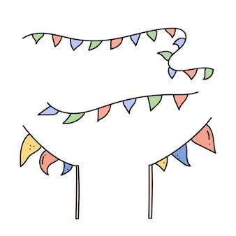 Bandiera triangolare, elementi per festival, eventi sportivi, bandiere per feste di compleanno illustrazione vettoriale