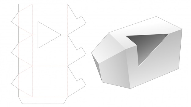 Scatola da imballaggio triangolare con modello fustellato finestra triangolo