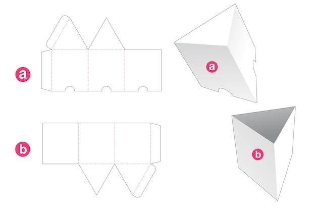 Scatola di forma triangolare con sagoma di copertina fustellata