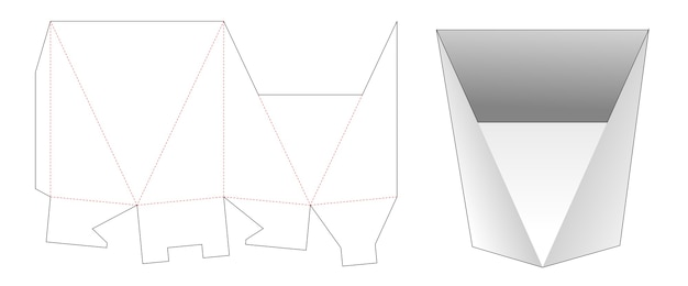 Modello fustellato di scatola di cancelleria a forma triangolare