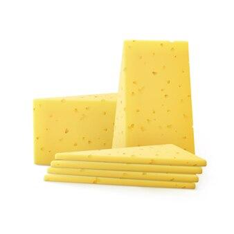 Pezzi di formaggio a fette triangolari