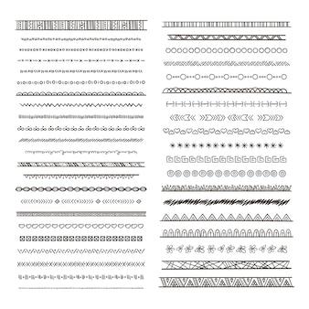 Illustrazioni di bordi tribali in stile boho. raccolta isolare. modello di ornamento tribale etnico di confine monocromatico immagini disegnate a mano