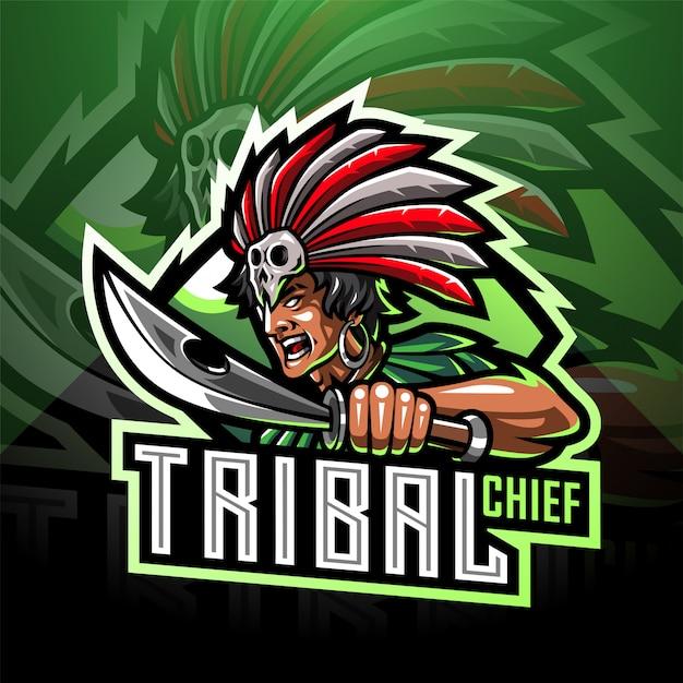 Logo della mascotte capo tribale esport