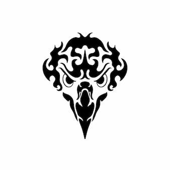 Illustrazione di vettore dello stencil di disegno del tatuaggio del logo della testa dell'aquila tribale