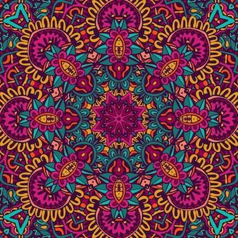 Design senza cuciture etnico indiano etnico tribale. modello mandala colorato. fiori boho fantasia geometrica mandala