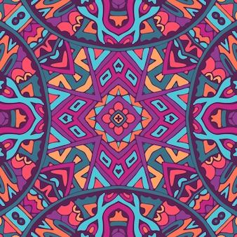 Design senza cuciture indiano etnico tribale. reticolo di arte mandala colorato festivo. medaglione geometrico doodle boho.