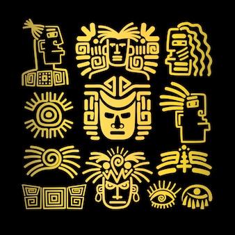 Set di icone tribali viso, simboli dorati