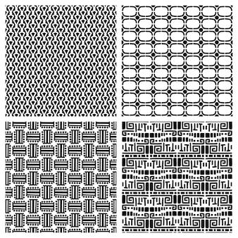 Modelli senza cuciture primitivi di moda tribale. set di modelli etnici africani vettoriali per il design di sfondo della stampa o la trama del tessuto