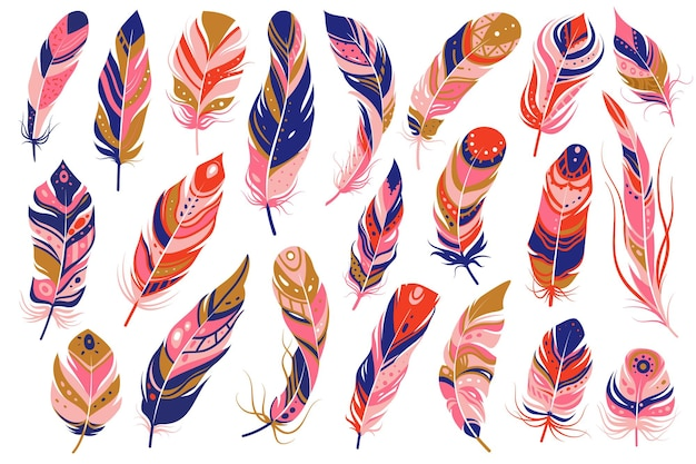 Piume tribali. decorativo etnico stilizzare piuma ornamentale indiano design azteco, colorati boho hippie uccelli pennacchio sagome curve, vettore isolato set