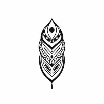 Illustrazione di vettore dello stencil di disegno del tatuaggio di logo floreale tribale