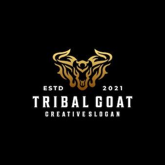 Modello di logo creativo hipster di lusso tribale capra