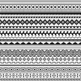 Confini indiani tribali. motivo geometrico bianco nero, stampa etnica senza soluzione di continuità per tessile o tatuaggio, ornamento vettoriale messicano e azteco. elementi di linea tradizionali della decorazione, illustrazione della cultura