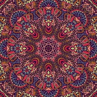 Design senza cuciture etnico indiano tribale. modello mandala colorato festivo.