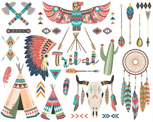 Insieme di elementi nativi indiani tribali