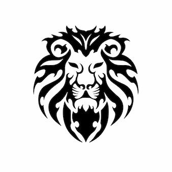 Testa di leone tribale logo tattoo design stencil vector illustration