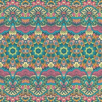 Modello di forme geometriche colorate senza cuciture tribali texture vettoriale a strisce etniche per tessuto tessile