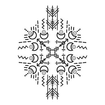 Ornamenti e frecce in stile tribale. collezione di design di motivi ornamentali nativi americani. illustrazione vettoriale