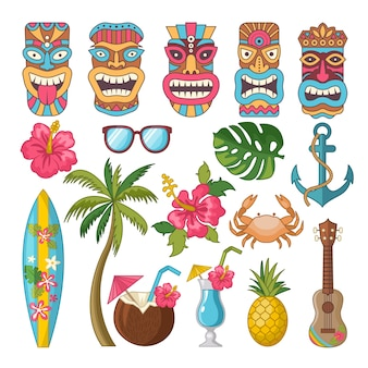 Simboli tribali della cultura hawaiana e africana
