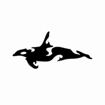 Tribal whale logo tattoo design stencil vector illustration