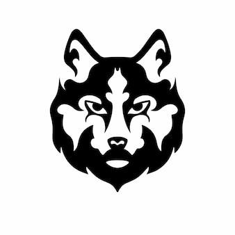 Tribal wolf head logo tattoo design stencil vector illustration