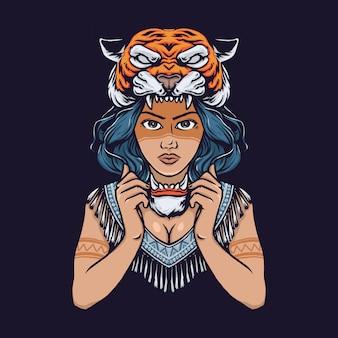 Ragazza della tribù con l'illustrazione disegnata a mano della testa della tigre