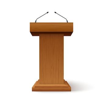 Stand di discorso del rostro del podio della tribuna. palco per conferenze con microfono