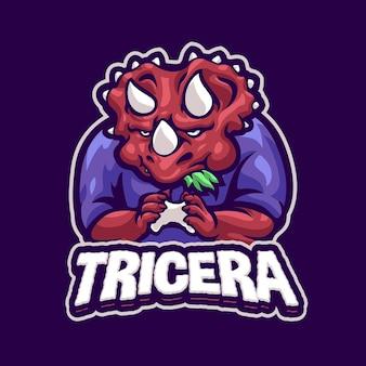 Modello di logo della mascotte di gioco del triceratopo