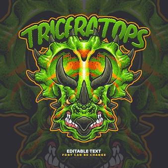 Modello di logo di triceratopo