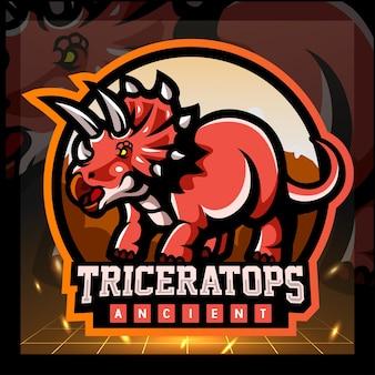 Design del logo esport della mascotte del triceratopo