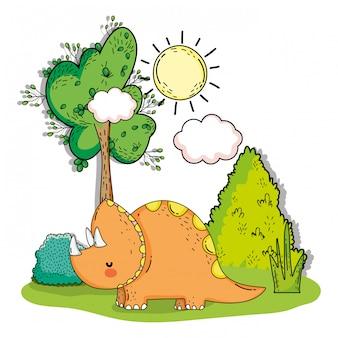 Animale preistorico triceratopo con albero e cespugli