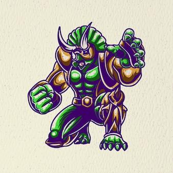 Disegno del guerriero triceratopo per maglietta